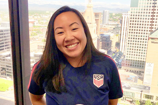 Ashley Louie poses in her U.S. Women's Soccer training jersey provided by PSIA-AASI Official Automotive Partner Volkswagen