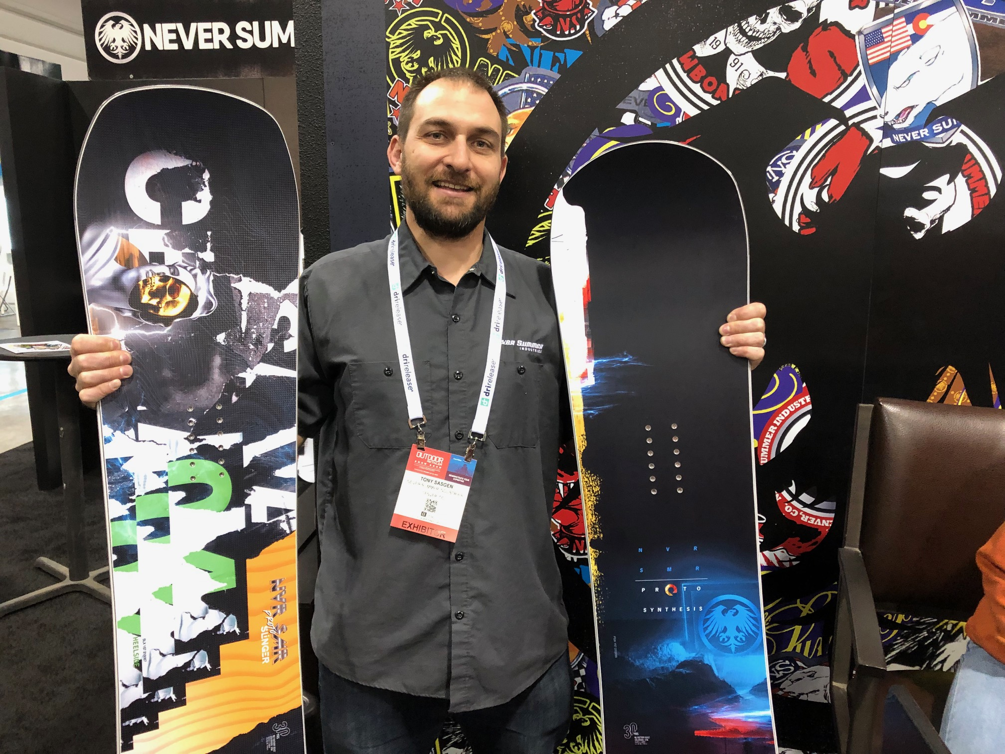 At the 2020 Outdoor Retailer Snow Show, Never Summer's Tony Sasgen shows off the company's WooBoo and Proto Slinger Freestyle AsymTwin snowboards