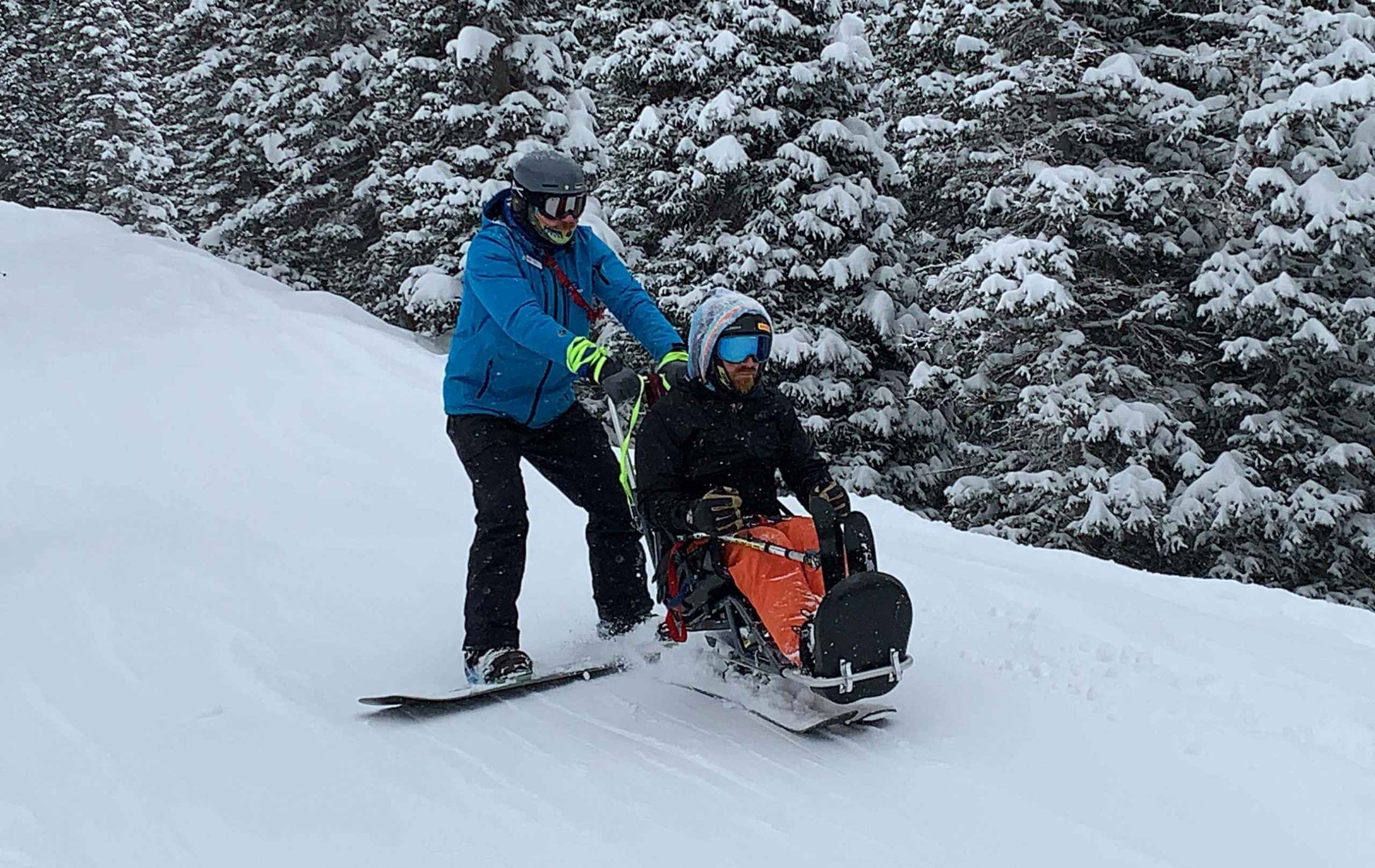 PSIA-AASI member Trevor Hildebrand at his Adaptive Snowboard Level III exam
