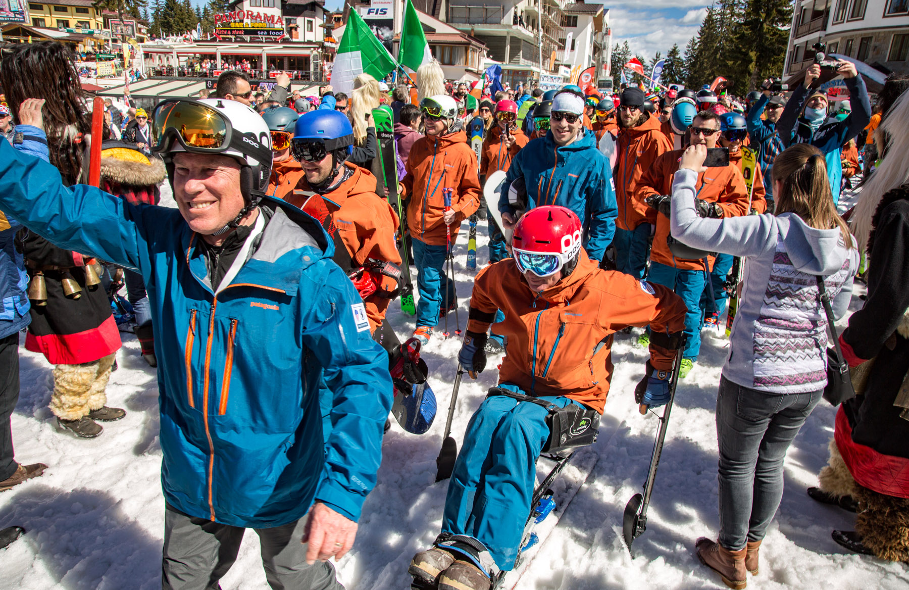 PSIA-AASI Chairman of the Board of Directors Ed Younglove at the Interski 2019 Opening Day Parade
