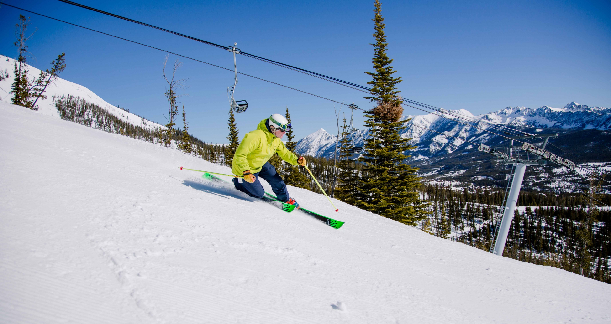 PSIA Telemark Team Member Grant Bishop tele skis at Big Sky Resort