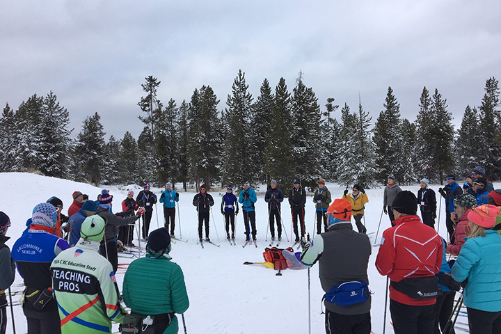 Cross country ski instructors take part in a clinic at PSIA-AASI 2018 Cross Country Academy